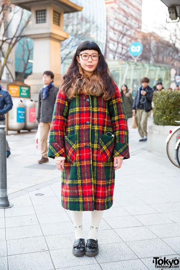 Harajuku Girl in Glasses w/ Kinji Plaid Coat, Ombre Hair & Loafers