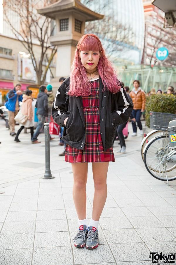 Pink Hair & Makeup w/ Plaid Dress, Jacket, Supreme & Adidas in Harajuku
