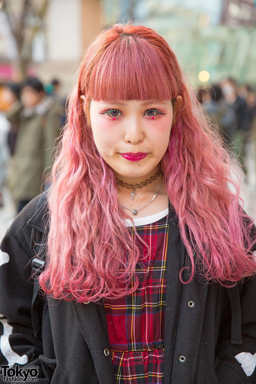 Pink Hair Amp Makeup W Plaid Dress Jacket Supreme