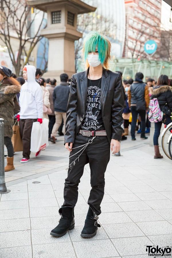 Aqua-Haired Harajuku Guy w/ Ghost of Harlem & Studded Buffalo Bobs Boots