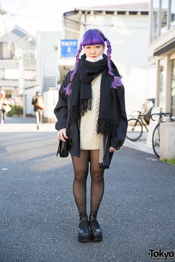 Purple Hair, Vintage Cable Knit, Platforms & Punk Cake in Harajuku