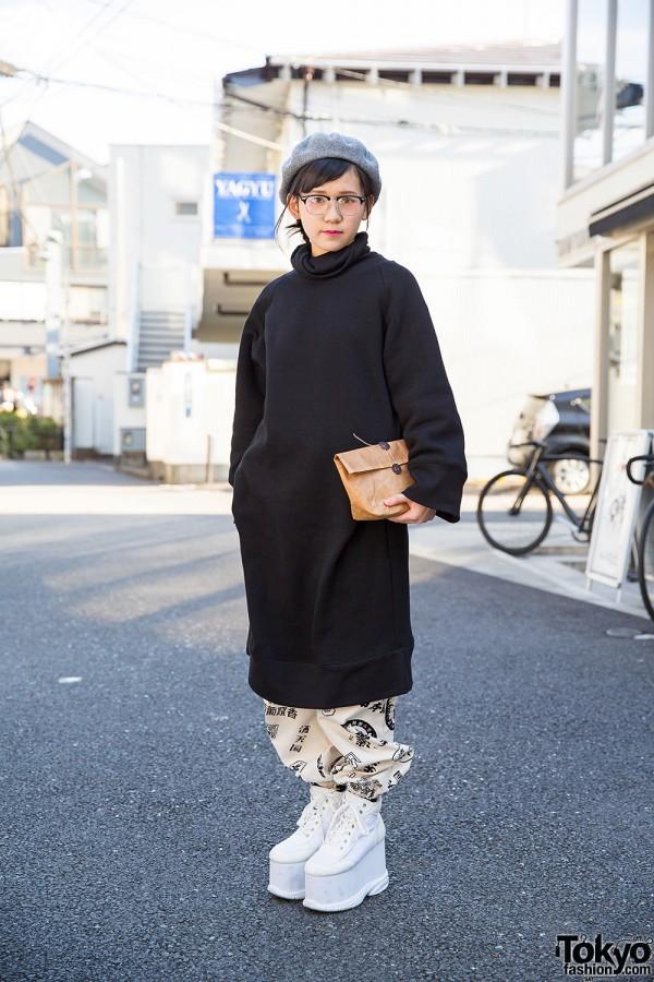 Long Sweatshirt, Graphic Pants, Clutch & Spinns Platforms in Harajuku