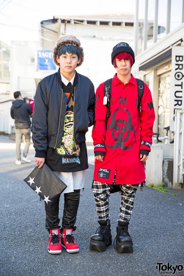 Harajuku Guys w/ Blue & Red Hair, DAMAGE, Demonia, KTZ & Long Clothing