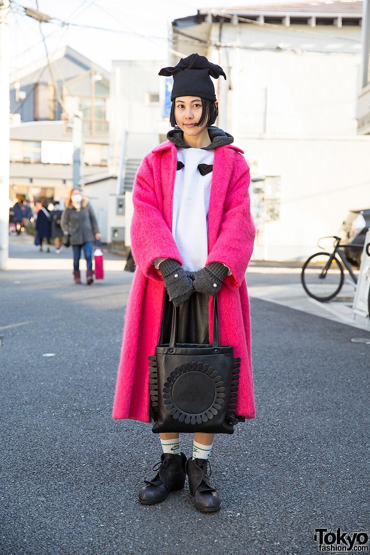 Yama in Harajuku w/ Pink Vintage Coat & Tokyo Bopper Tote Bag