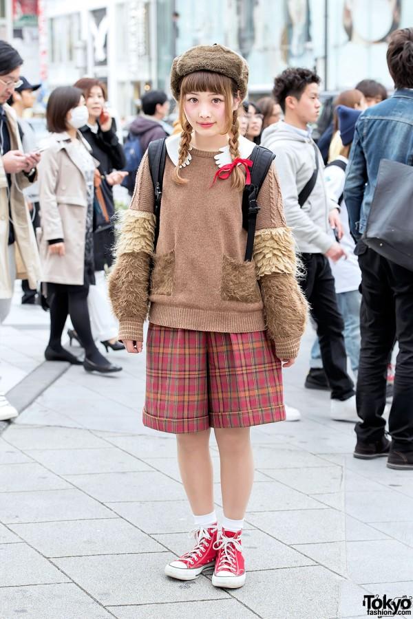 Ushanka Hat, Frapbois Sweater, Cute Collar, Plaid Shorts & Converse in Harajuku