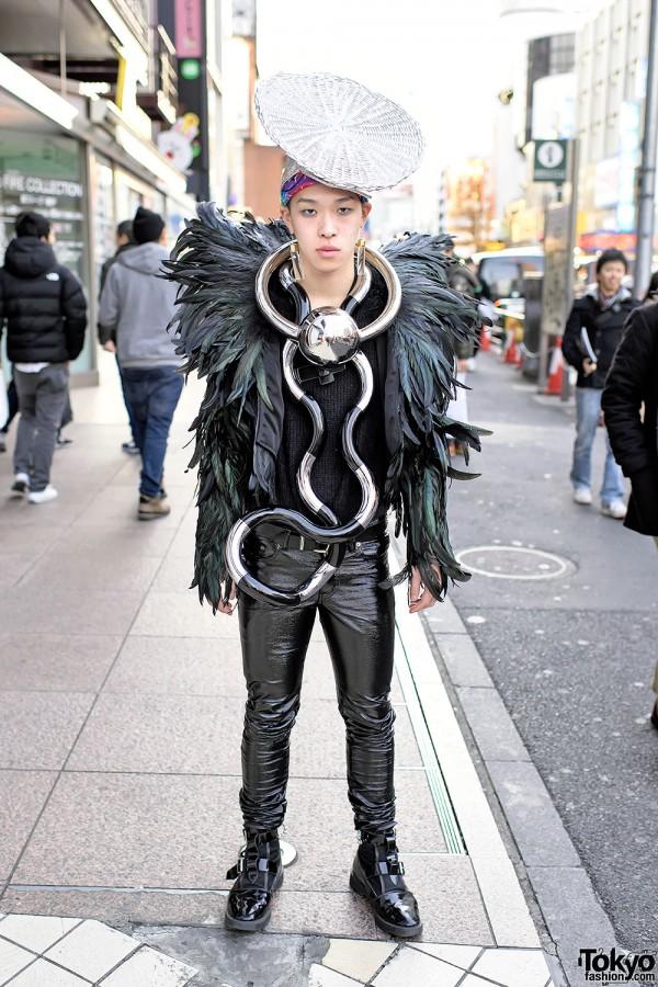 Dog Harajuku Feather Jacket, Oversized Metal Necklace & Buckle Boots
