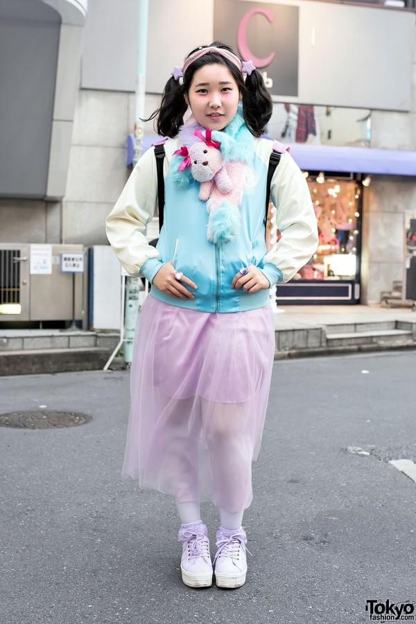 Smile Camp Harajuku Jacket, Sheer Skirt, Twintails & Plush Muffler