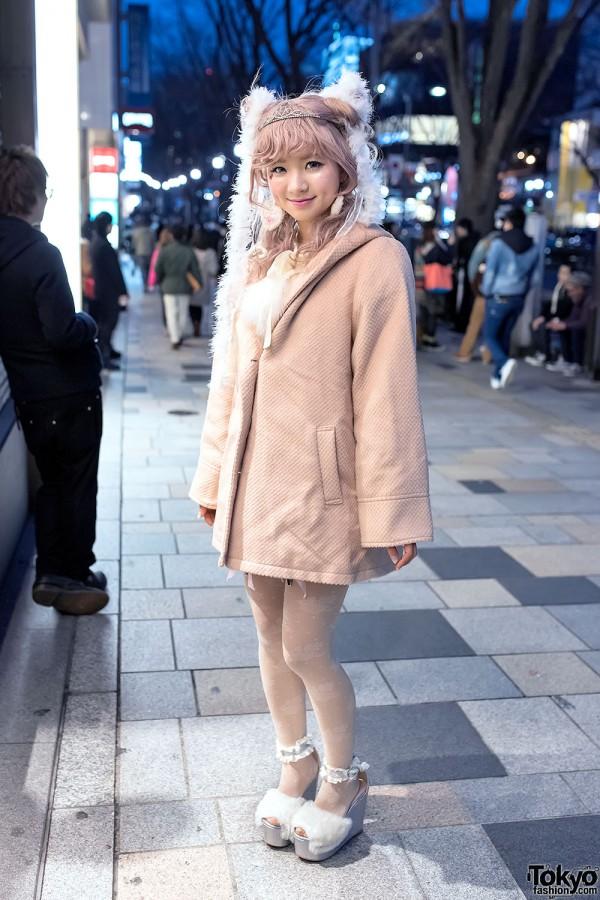 Swankiss Dress, Pastel Hair, Tiara & Swankiss Platforms in Harajuku