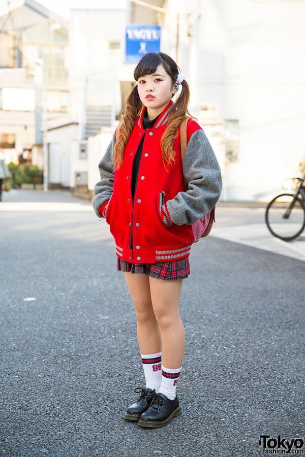 Resale Stadium Jacket, Plaid Skirt & Twin Tails in Harajuku
