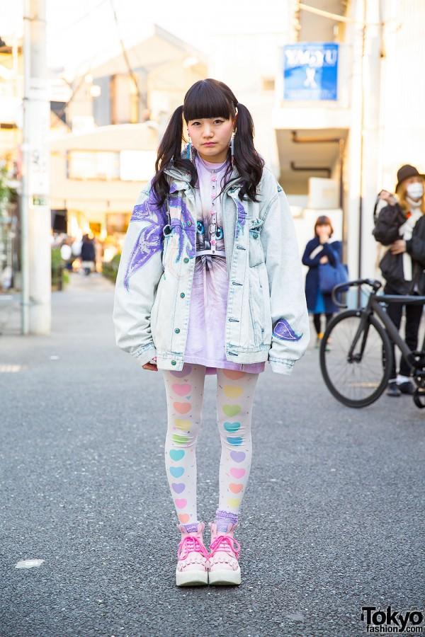 Nadia Harajuku Cat, Flower Harness, Heart Tights & See-Thru Backpack