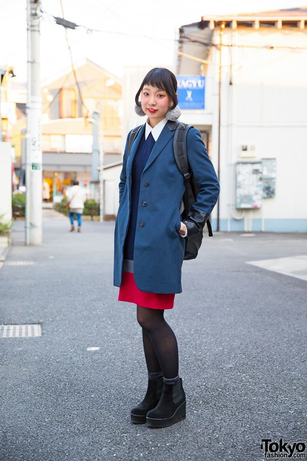 Harajuku Girl in Tommy Dress & Coat, WEGO Backpack & Ankle Boots