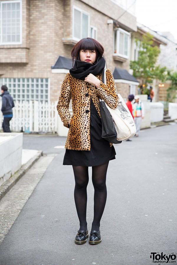 Leopard Print Coat w/ Black Dress & Dr. Martens in Harajuku