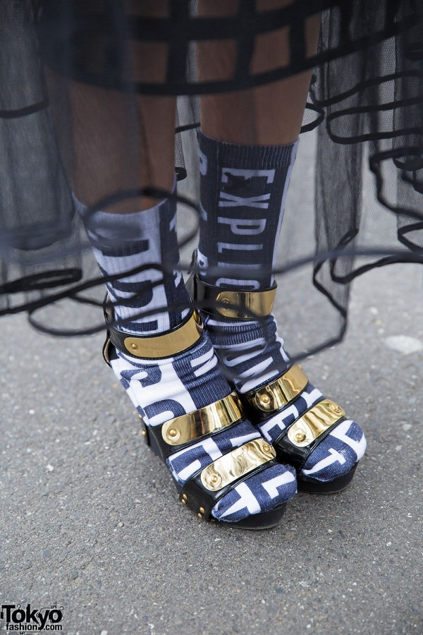 Socks and Metallic Platform Sandals