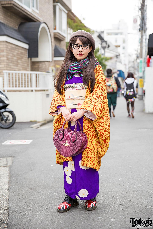 Japanese Street Fashion Trends: Kimono W/ Vivienne Westwood Heart Bag & Dr. Martens In