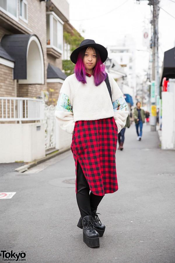 Harajuku Girl w/ Pink & Purple Hair in Layered Style Nanda, Asos & Handmade Fashion