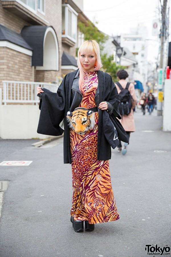 Animal Print, Kimono, Tiger Head Bag & YRU in Harajuku