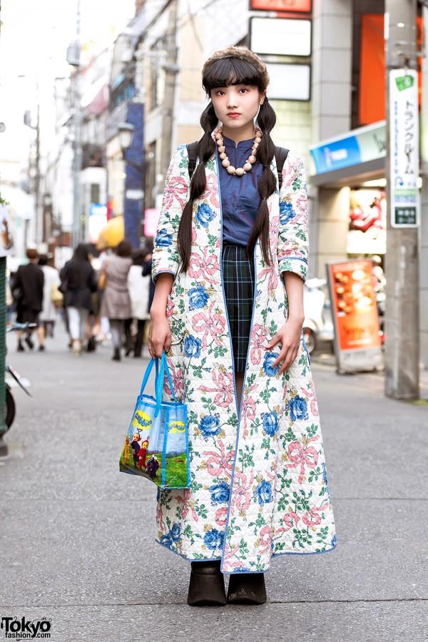 Harajuku Girl w/ Floral Coat, Buffalo Platforms & Teletubbies Tote