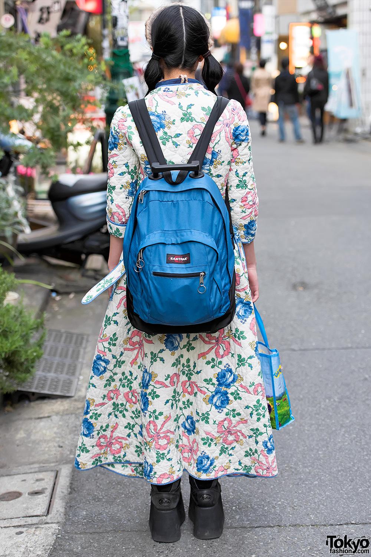 Harajuku Girl W Floral Coat Buffalo Platforms