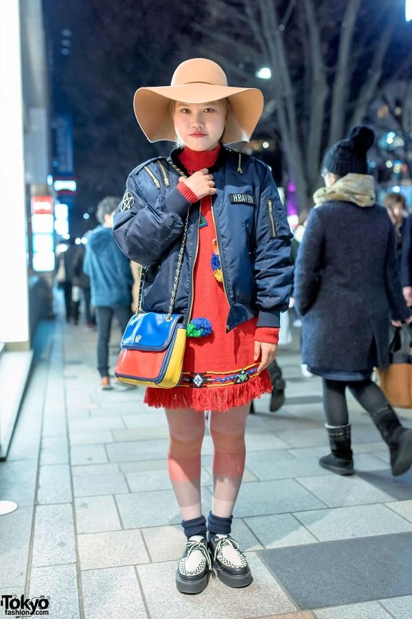 Harajuku Girl in Jouetie Bomber Jacket, Sankaku Dress & Creepers