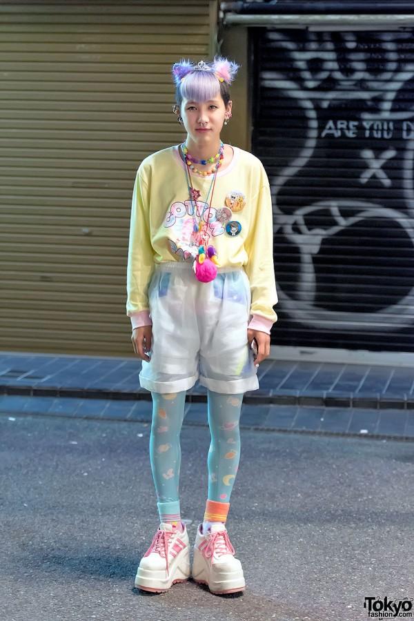 """Harajuku Guy in Milklim """"Cotton Candy"""" Top, Tiara, Sheer Shorts & Spank!"""