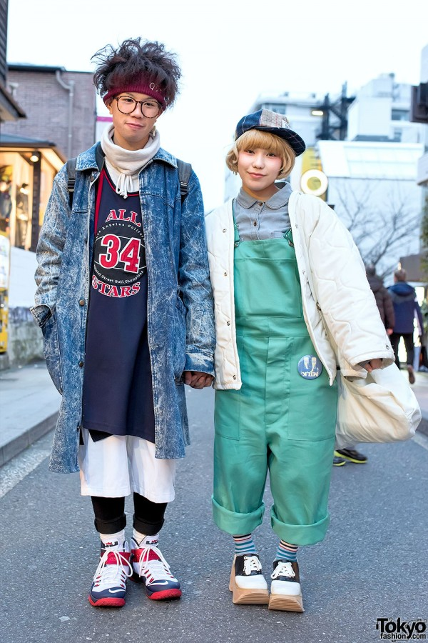 Resale-Loving Harajuku Duo in Overalls, Acid Wash, Quilted Jacket & Platforms