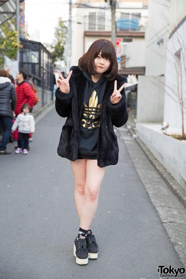 One Spo Coat, Adidas Hoodie, LDS Backpack & Dazzlin Wedges in Harajuku