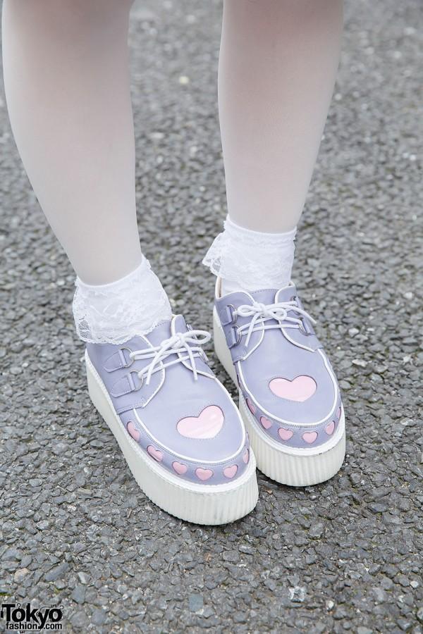 Bubbles Harajuku Pastel Heart Cutout Creepers