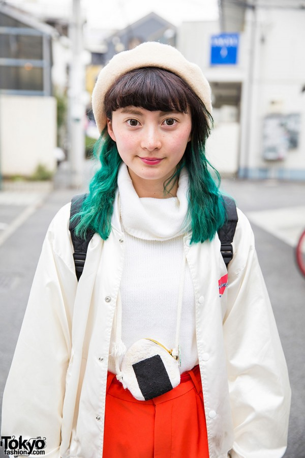 Harajuku Girl W Green Hair Resale Fashion Onigiri Pouch