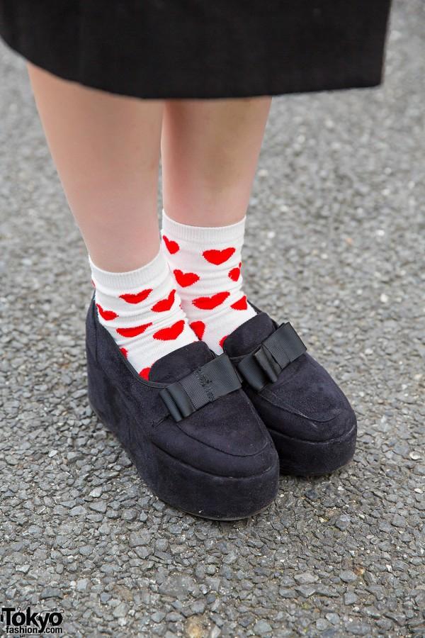 Heart Socks & Platform Loafers