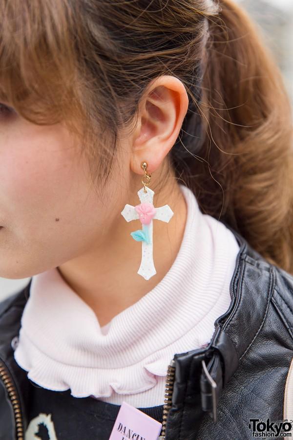 Cross & Rose Earring