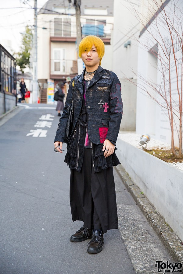 Yellow-Haired Harajuku Guy in h.NAOTO, Algonquins, Black Peace Now & Vivienne Westwood