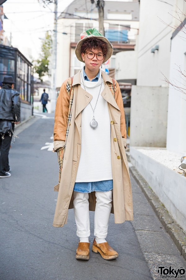 Harajuku Guy in Burberry Trench Coat, Chanel Rucksack & Clogs