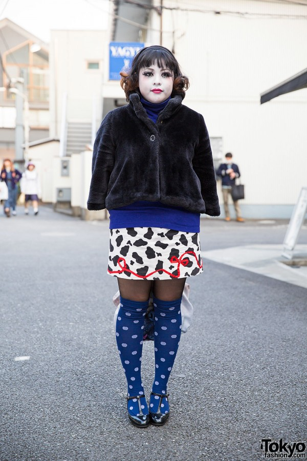 Harajuku Shironuri w/ Faux Fur, Pug Bag, Polka Dot Socks & Anna Sui Accessories