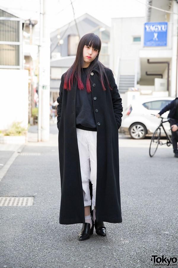 Harajuku Girl w/ Pink Dip Dye, Maxi Coat, White  & Heeled Loafers