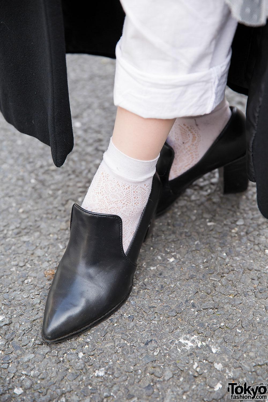 harajuku girl w pink dip dye maxi coat white amp heeled