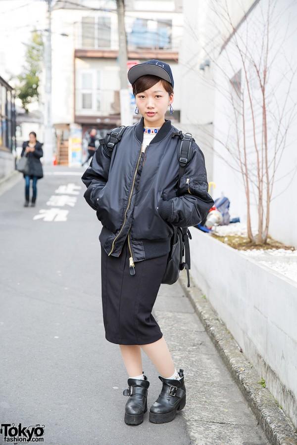 Harajuku Girl in [Alexandros] Cap, Evris Top & Goocy Ankle Boots