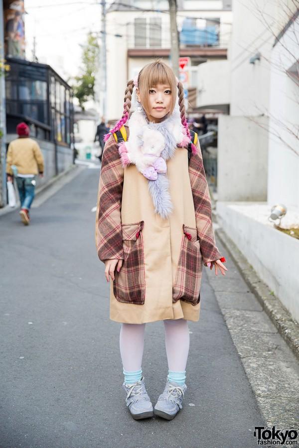Harajuku Girl w/ Pink Twin Braids, Unicorn Muffler & Handmade Plaid Coat