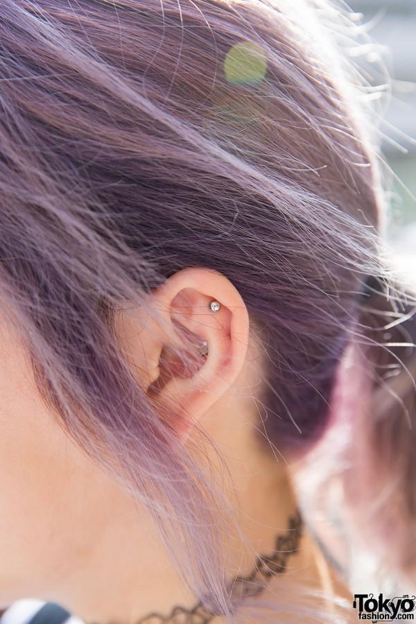 Lilac Hair & Ear Piercing