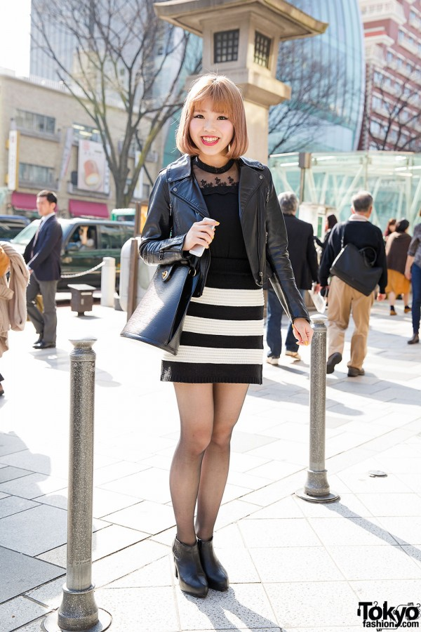 Harajuku Girl in Azul Jacket, Striped Mini Skirt, Chanel Watch & Ankle Boots