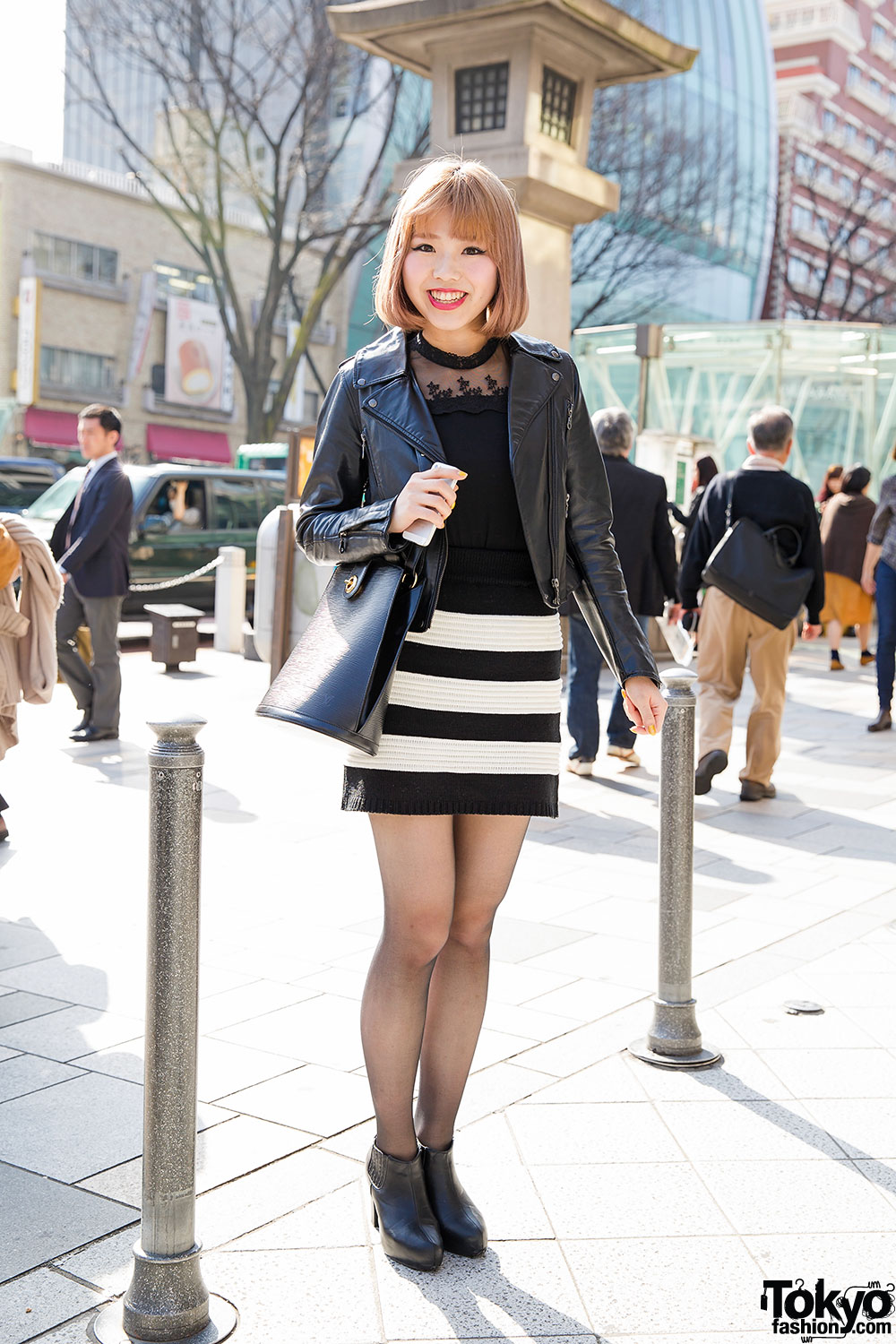 Harajuku Girl In Azul Jacket Striped Mini Skirt Chanel