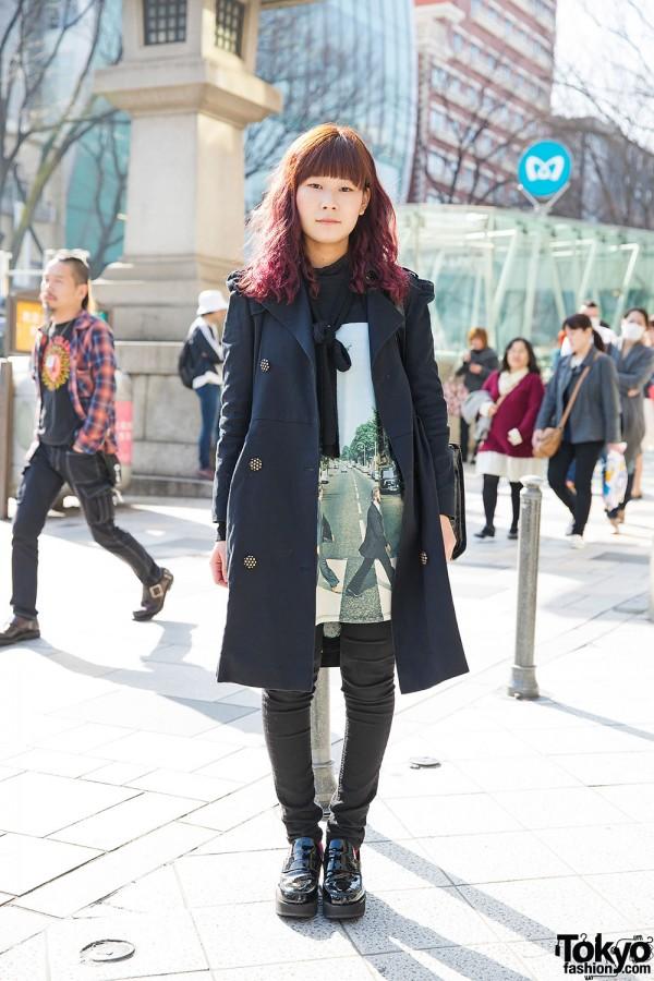Beatles T-Shirt, Jean Paul Gaultier Bag & Patent Loafers in Harajuku