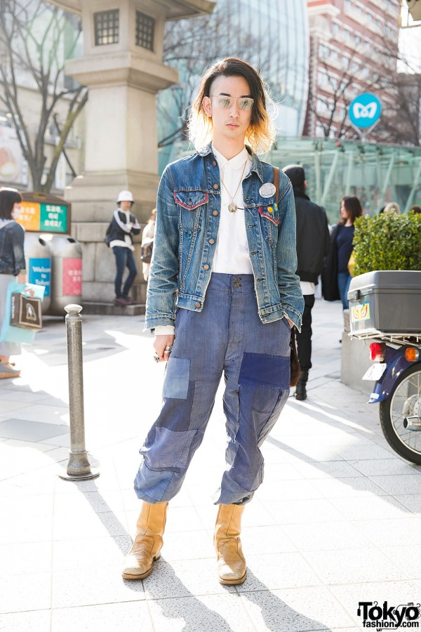 Qosmos Vintage Denim Outfit W Comme Des Garcons In Harajuku