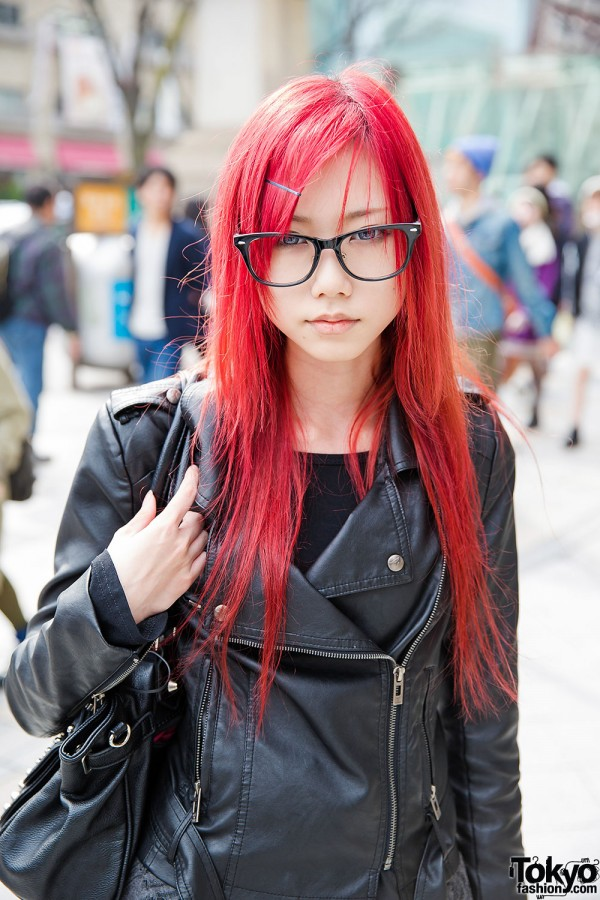 Red Hair, Glasses & Biker Jacket in Harajuku