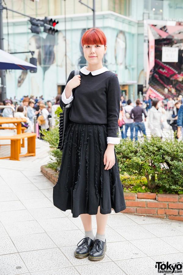 Comme des Garcons Skirt, Tokyo Bopper Bag & Dr. Martens in Harajuku