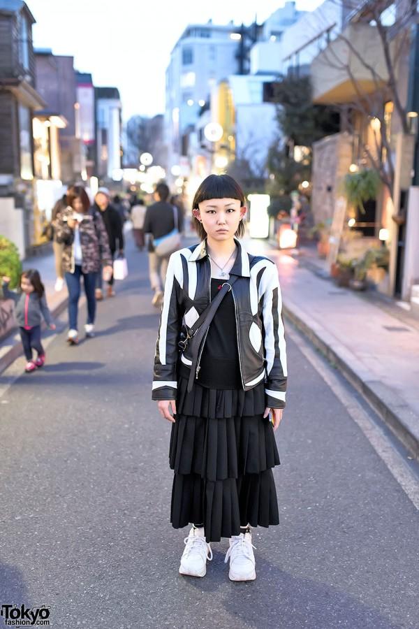 Shaved Hairstyle, Piercings, Leather Jacket & Vivienne Westwood in Harajuku