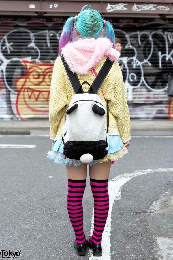Striped Socks & Plush Harajuku Backpack