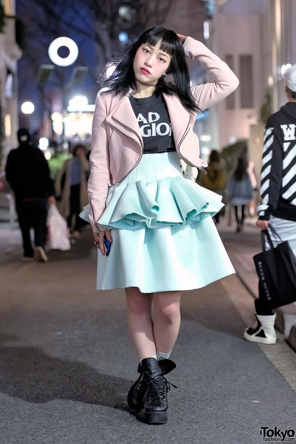Bubbles Harajuku Eriko w/ Pink Biker Jacket, Peplum Skirt & Dalmatian Bag