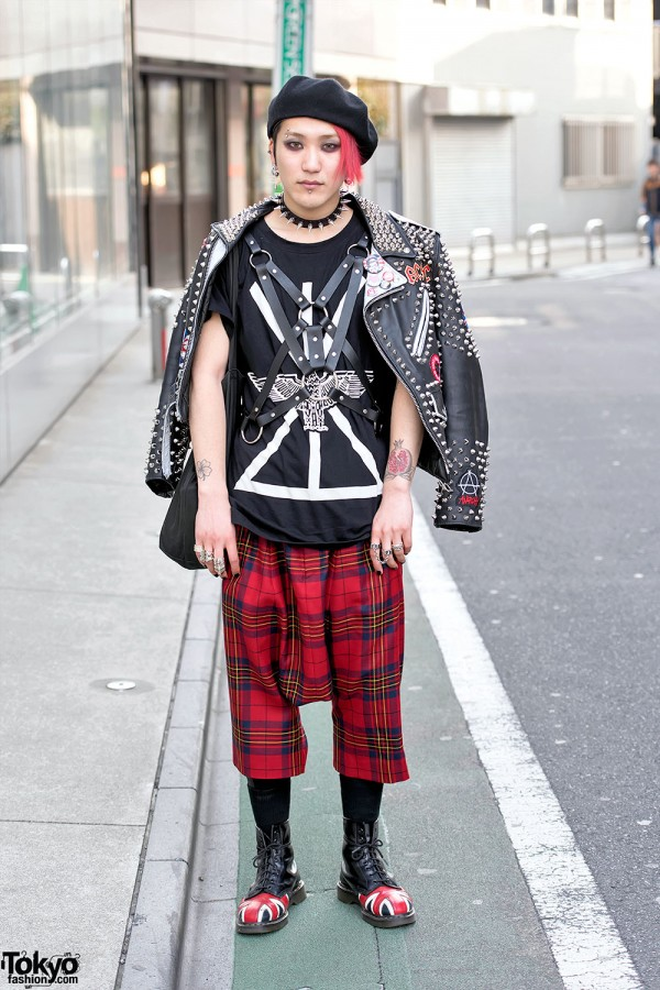 Punk Leather Jacket, Comme Des Garcons & Dr. Martens in Harajuku