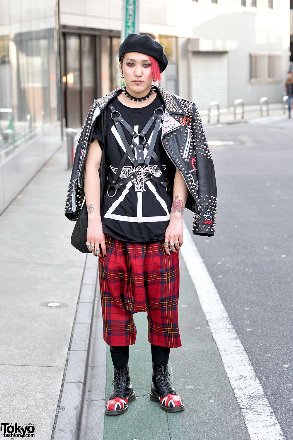 Punk leather jacket comme des garcons dr martens in harajuku Girl fashion style london