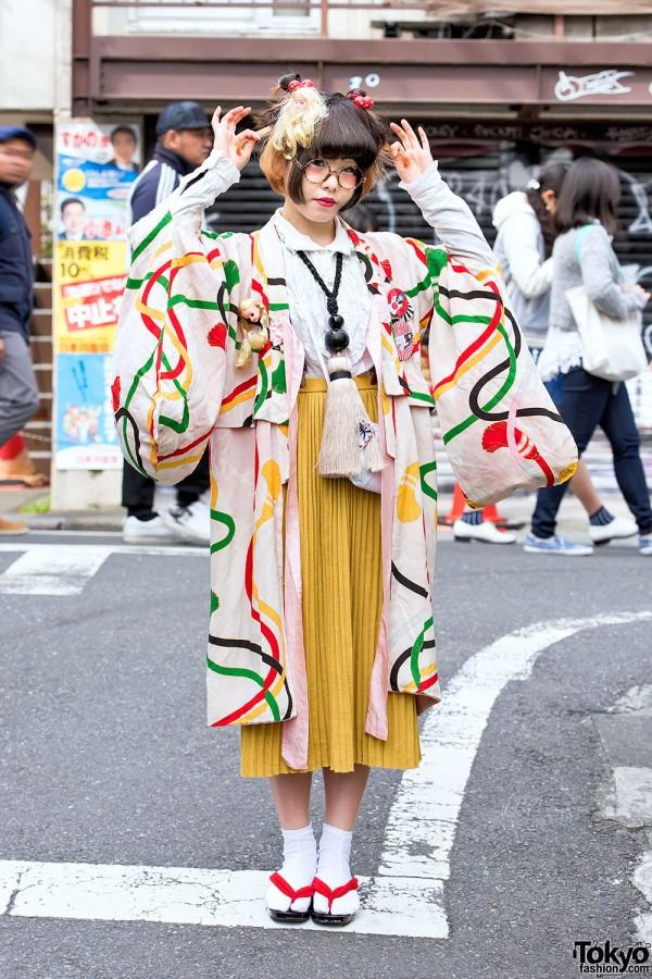 Kimono, Doll Heads & Giant Tassel Necklace in Harajuku